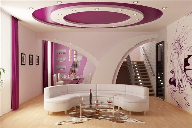 Дизайн подвесных потолков для гостиной в фото