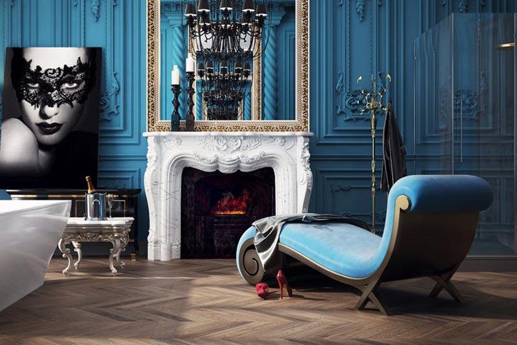 Красивый дизайн ванной комнаты в стиле барокко в фото