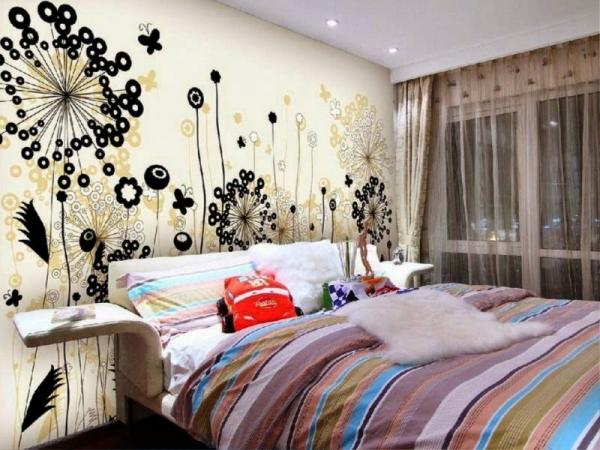Обои двух цветов в спальне — самые популярные сочетания цвета в интерьере (148 фото)