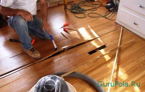 Ремонт деревянных полов: особенности и порядок проведения работ в фото
