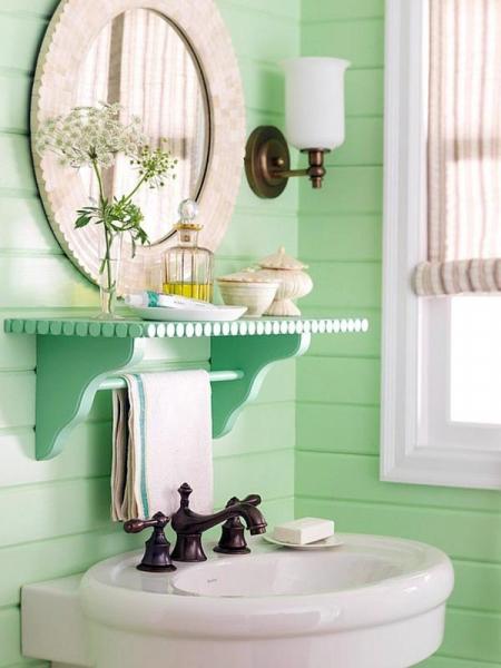 Зеленый цвет в дизайне ванной комнаты в фото