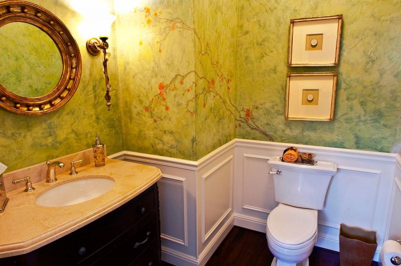 Жидкие обои: оригинальное решение для ванной комнаты в фото