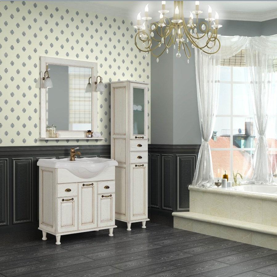 Белая и практичная мебель от коллекции «Акватон» во французском стиле ванной комнаты
