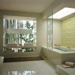 Cream wave bathroom tile stepped bathtub 2