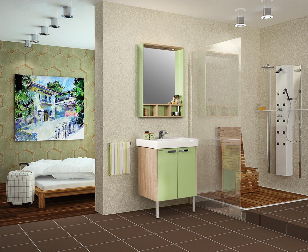Деревянная мебель постельных оттенков коллекции «Акватон» для ванной комнаты в стиле кантри