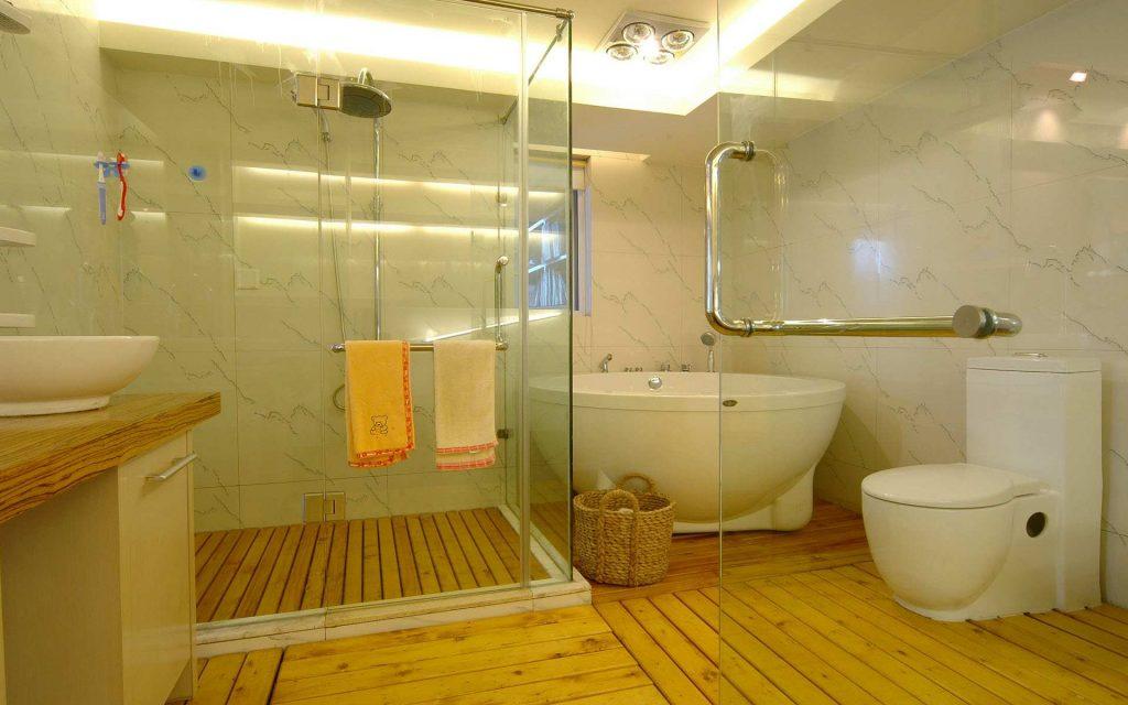 Оригинальный дизайн отделки ванной комнаты в светлых тонах как на фото в модном издании