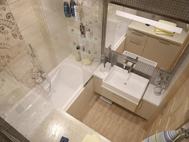 Современный дизайн ванной комнаты с кафельной плиткой