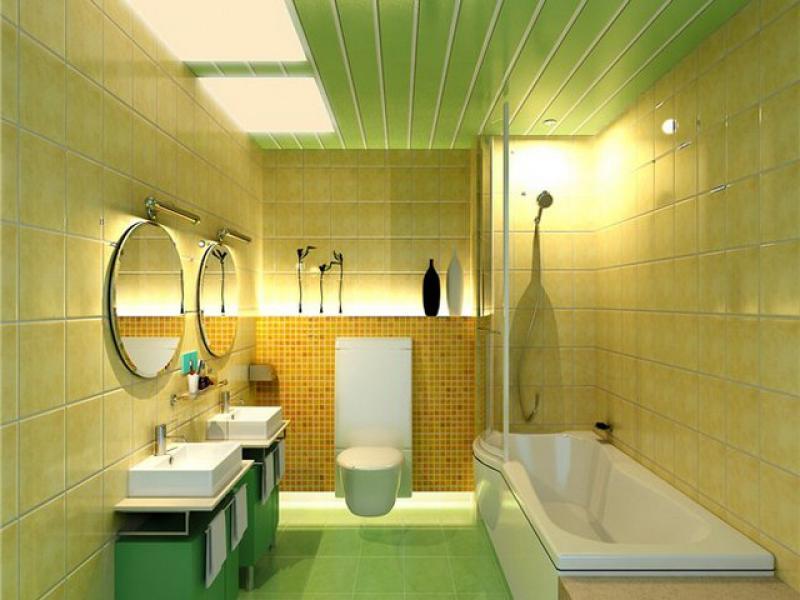 Дизайн оригинальной ванной комнаты в зеленом цвете с отделкой плиткой как на фото