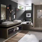 Elegant bathroom Design Ideas with Grey Vanity Table Top feat White Sink also Dark Grey Bath Wall Paint Color Ideas feat bath wall sconces 915x915