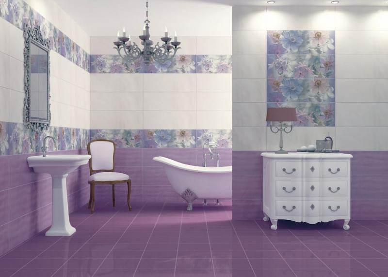 Фото дизайна ванной комнаты в лиловом цвете с маленькой площадью