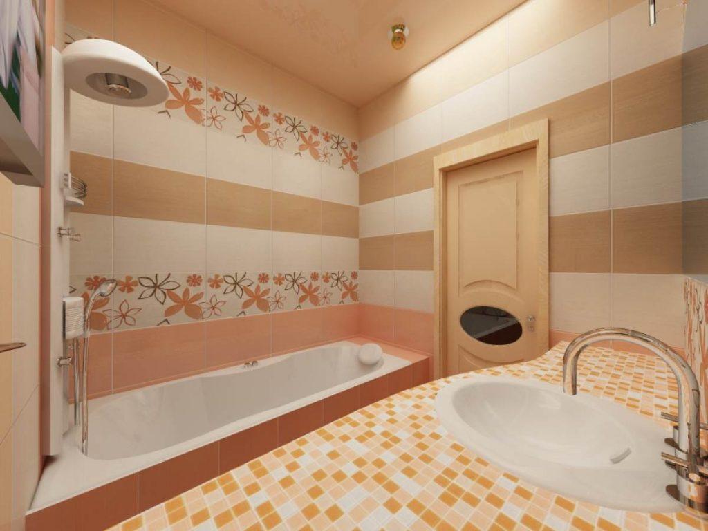 Фото дизайна маленькой ванной комнаты в постельных тонах