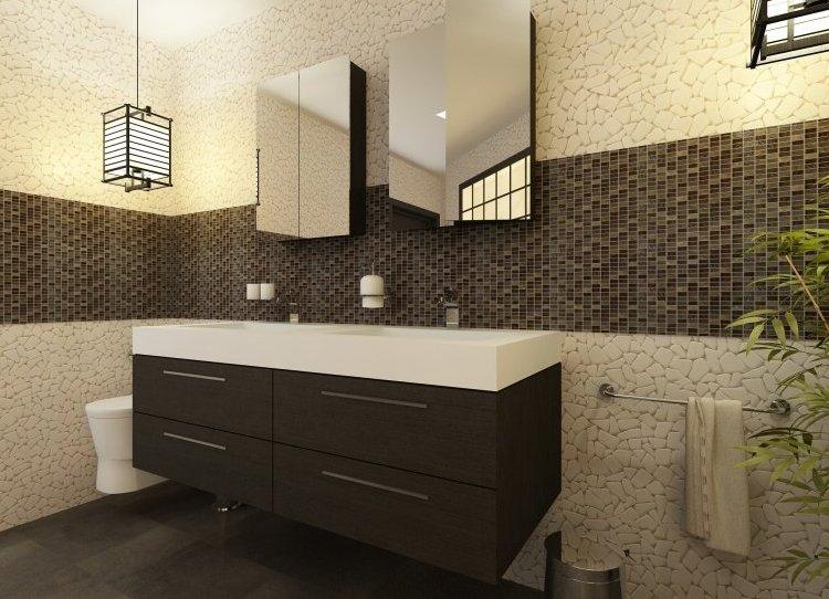 Фото дизайна отделки ванной комнаты плиткой в современном практичном стиле
