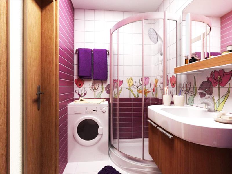Фото дизайна ванной комнаты с цветочным декором на стенах