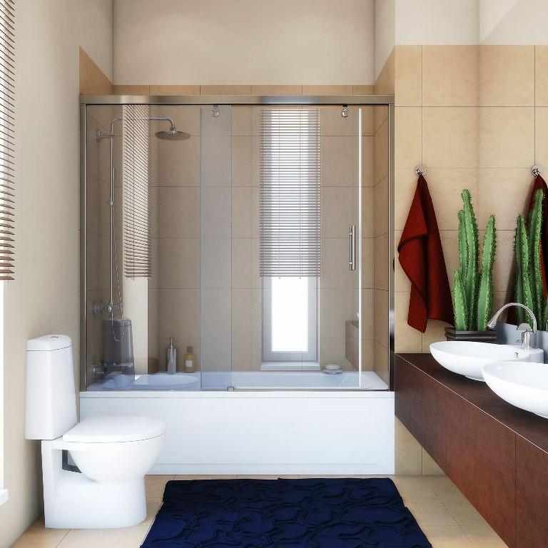 Стеклянная шторка для маленькой ванной комнаты в спокойных тонах