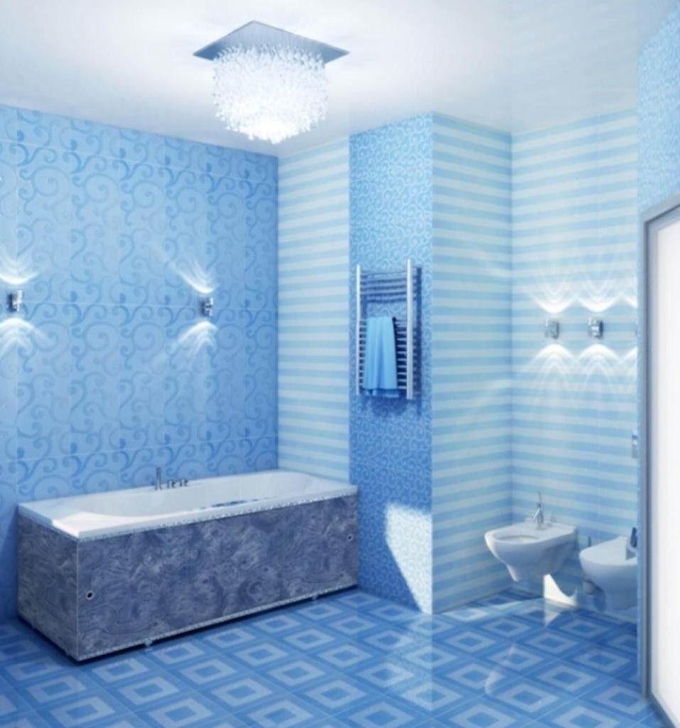 Стеновые панели голубого цвета для стильной ванной комнаты