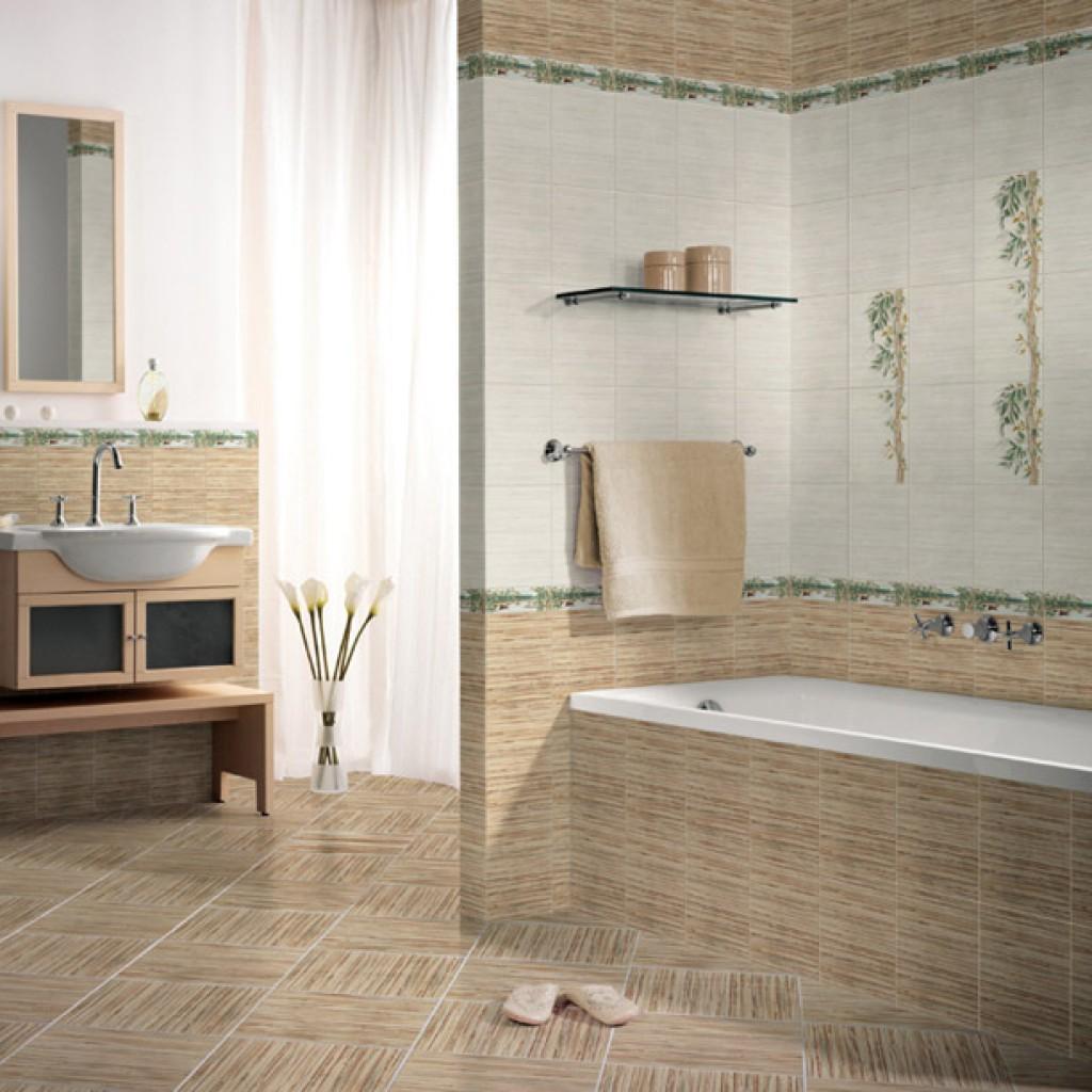 Кафельная плитка нежного цвета для просторной ванной комнаты в стиле кантри