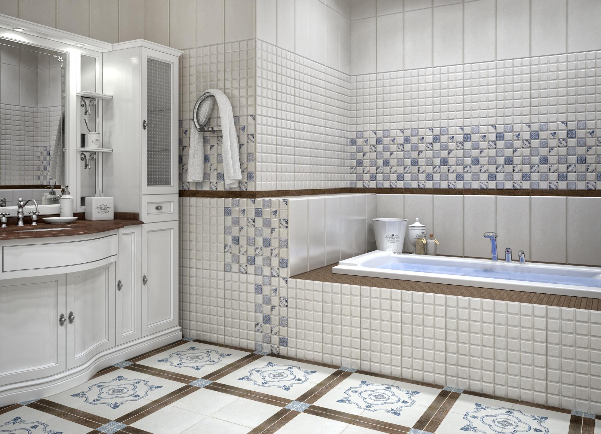 Большая ванная комната с отделкой кафельной плиткой разной текстуры