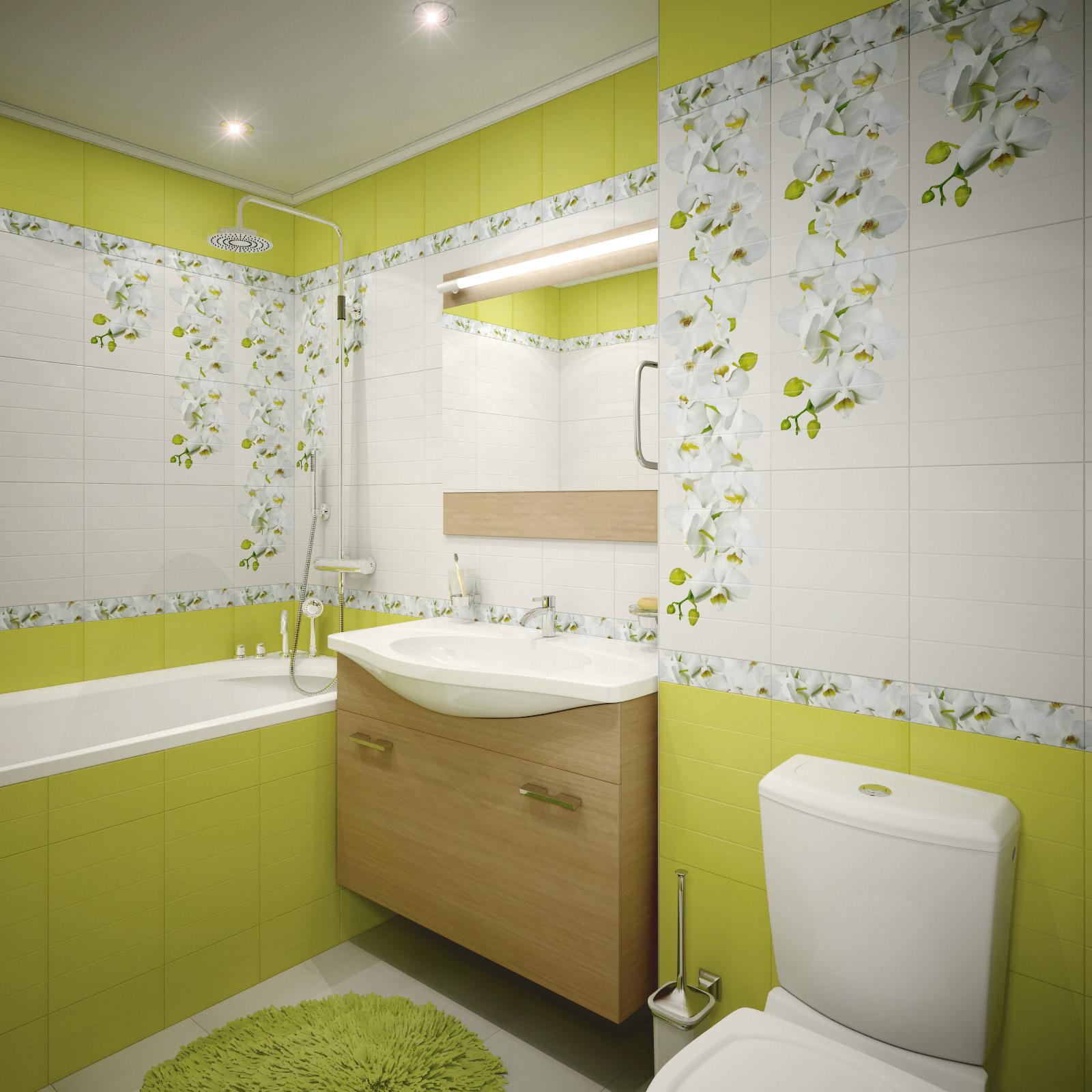Кафельная плитка с рисунком цветов для ванной комнаты в зеленом цвете