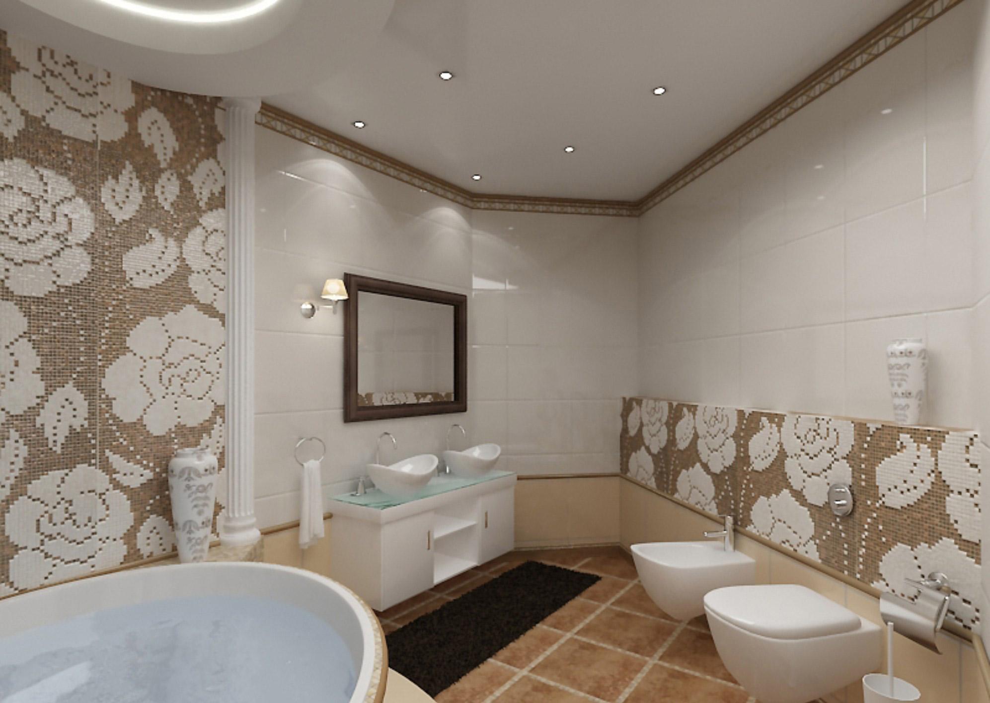 Как правильно выбрать светлый потолок с встроенными светильниками для ванной комнаты