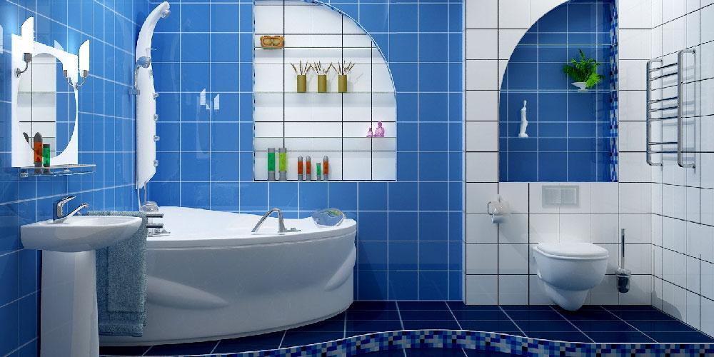 Яркий коврик синего цвета для стильной ванной комнаты