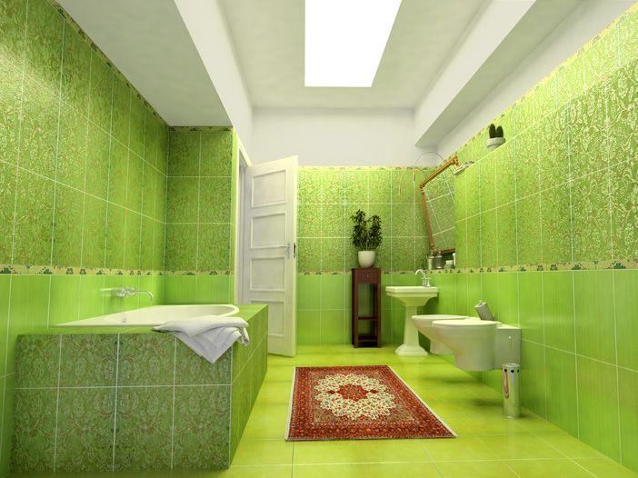 Выбираем правильный коврик для яркой ванной комнаты в зеленом оттенке