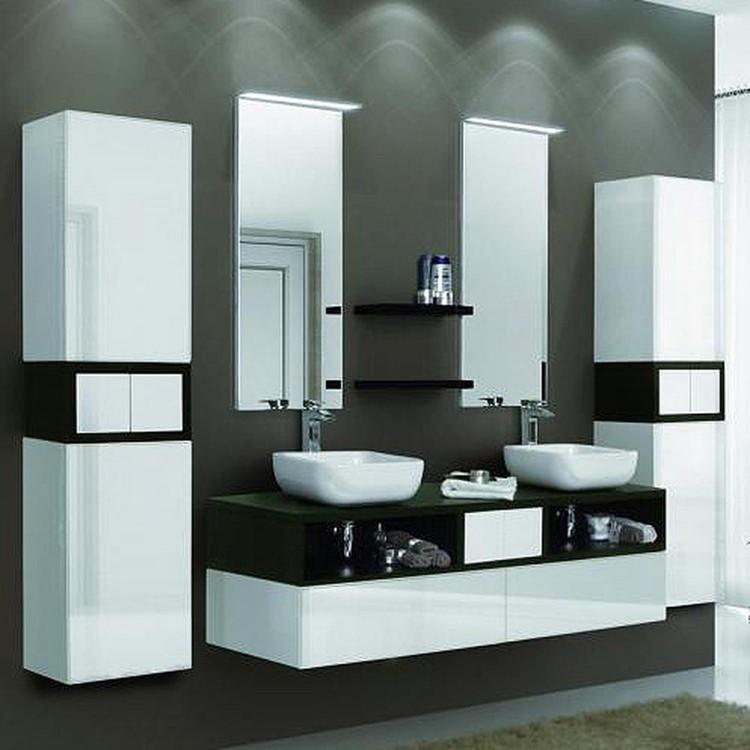 Современная коллекция мебели от «Акатон» для темной ванной комнаты