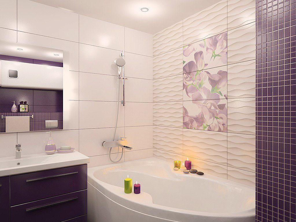Модная плитка для стен в маленькой ванной комнате