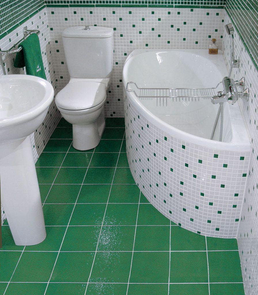 Модная плитка для ванной комнаты в зеленых тонах