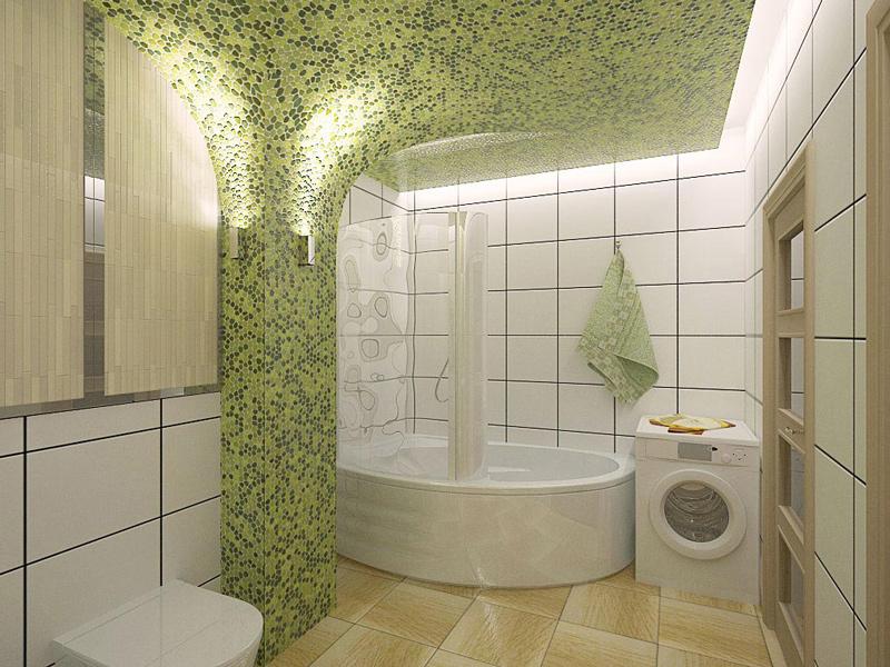 Дизайн интерьера ванной комнаты совмещенной с туалетом в стиле мозаики