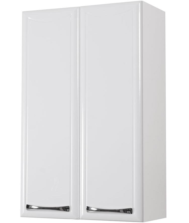Навесной шкаф нейтрального белого цвета для яркой ванной комнаты