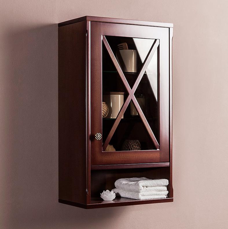Навесной шкаф из темного дерева для строгой ванной комнаты