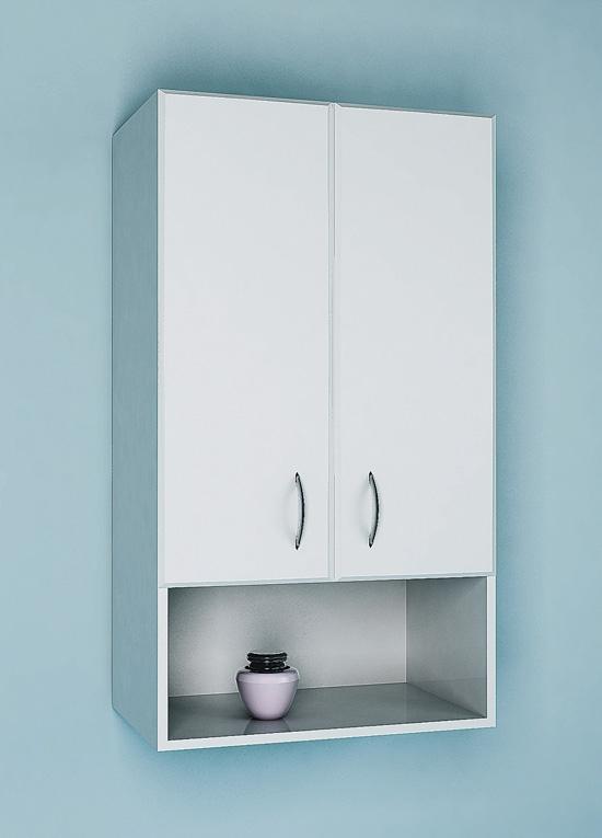 Навесной шкаф с распашными дверцами и оригинальными ручками для ванной комнаты
