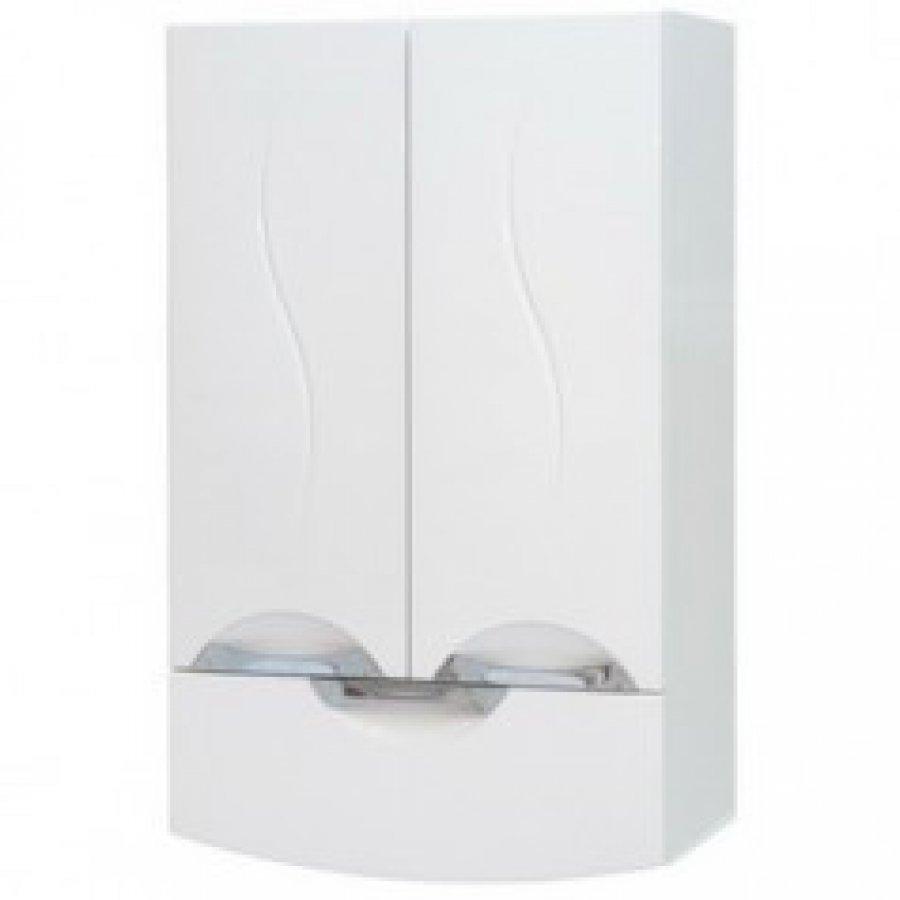 Навесной шкаф светлого оттенка для ванной комнаты с темными стенами