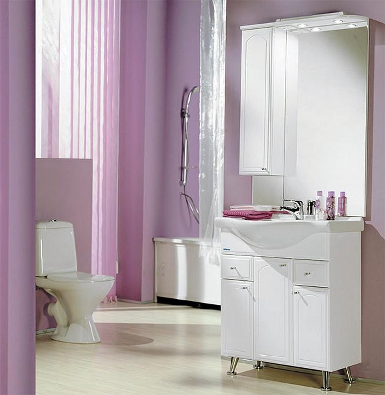 Классическая белая мебель «Акватон» для ванной комнаты с точечной подсветкой