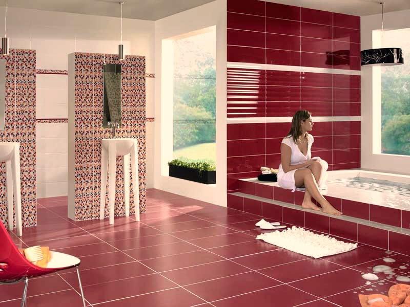 Плитка бардового цвета для роскошной ванной комнаты
