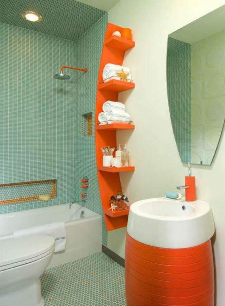 Оригинальное решение создать дизайн для ванной комнаты совмещенной с туалетом с яркими акцентами