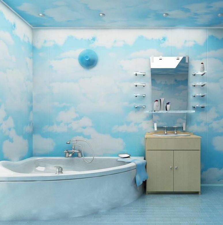 Оригинальный дизайн пластиковых панелей для ванной комнаты голубого цвета