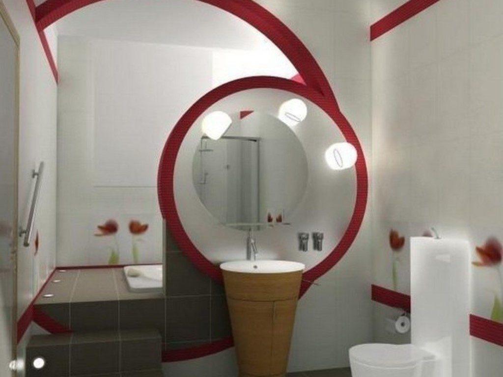 Оригинальное  дизайнерское решение подсветки в ванной комнате совмещенной с туалетом