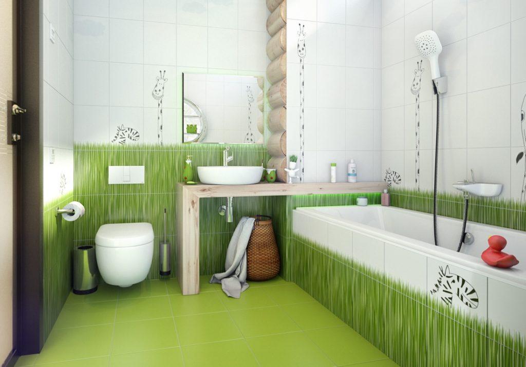Стильный интерьер ванной комнаты и туалета с нарисованной зеленью