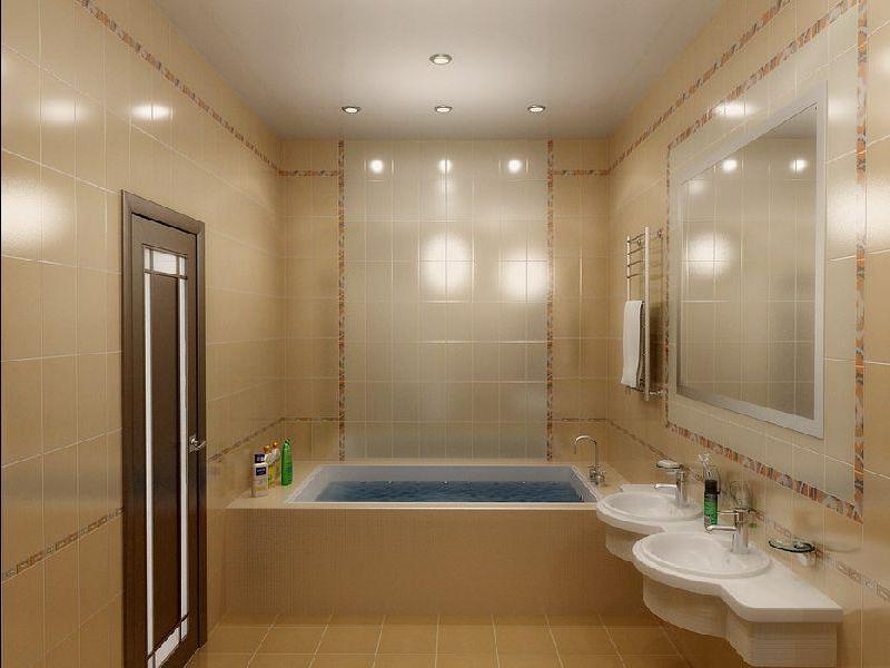 Отделка ванной комнаты плиткой постельных тонов как на фото с обложки