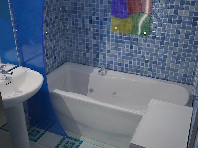 Панели пвх для декора ванной комнаты в синих тонах