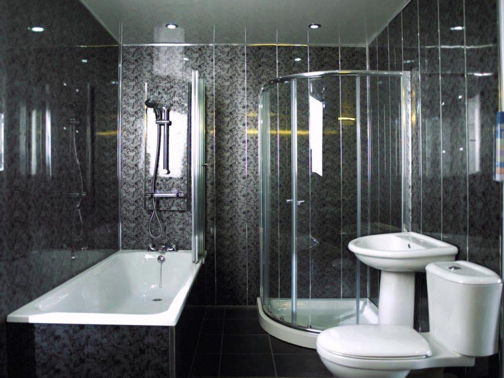 Пластиковые панели для черного дизайна ванной комнаты