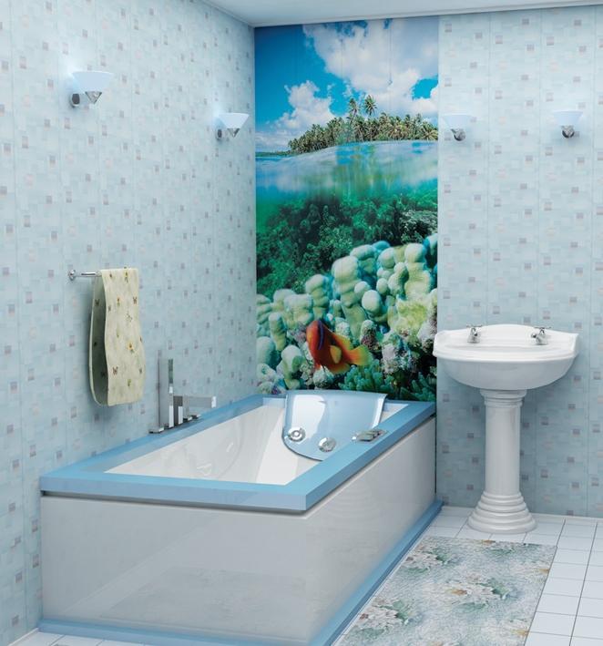 Пластиковые панели с дизайнерской картиной для оригинальной ванной комнаты
