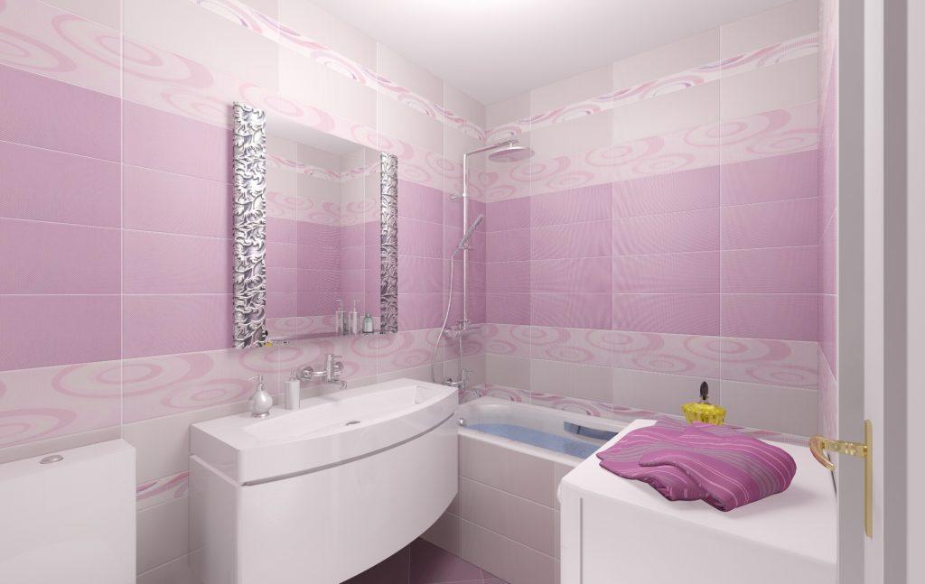 Пластиковые панели с узором для ванной комнаты в розовых тонах