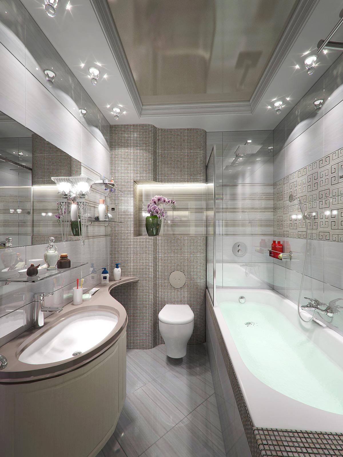Как выбрать потолок для ванной комнаты с зеркальным декором
