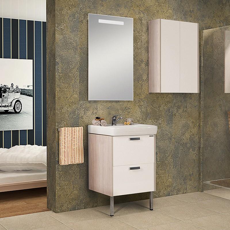 Декор ванной комнаты в постельных тонах с использованием мебели от «Акватон»