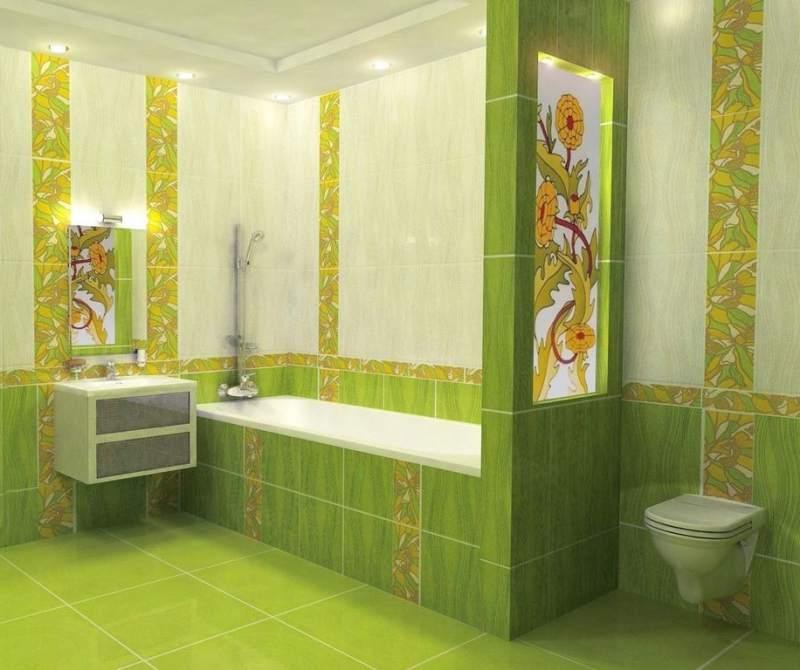 Преимущества и недостатки плитки зеленого цвета для дизайна ванной комнаты