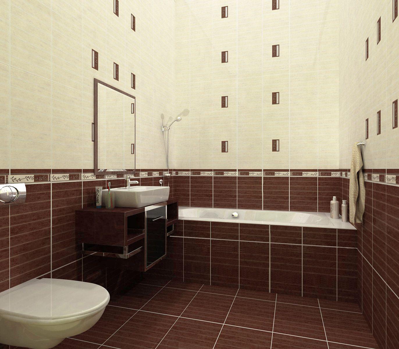 Кафельная плитка коричневого и белого цвета для отделки маленькой ванной комнаты