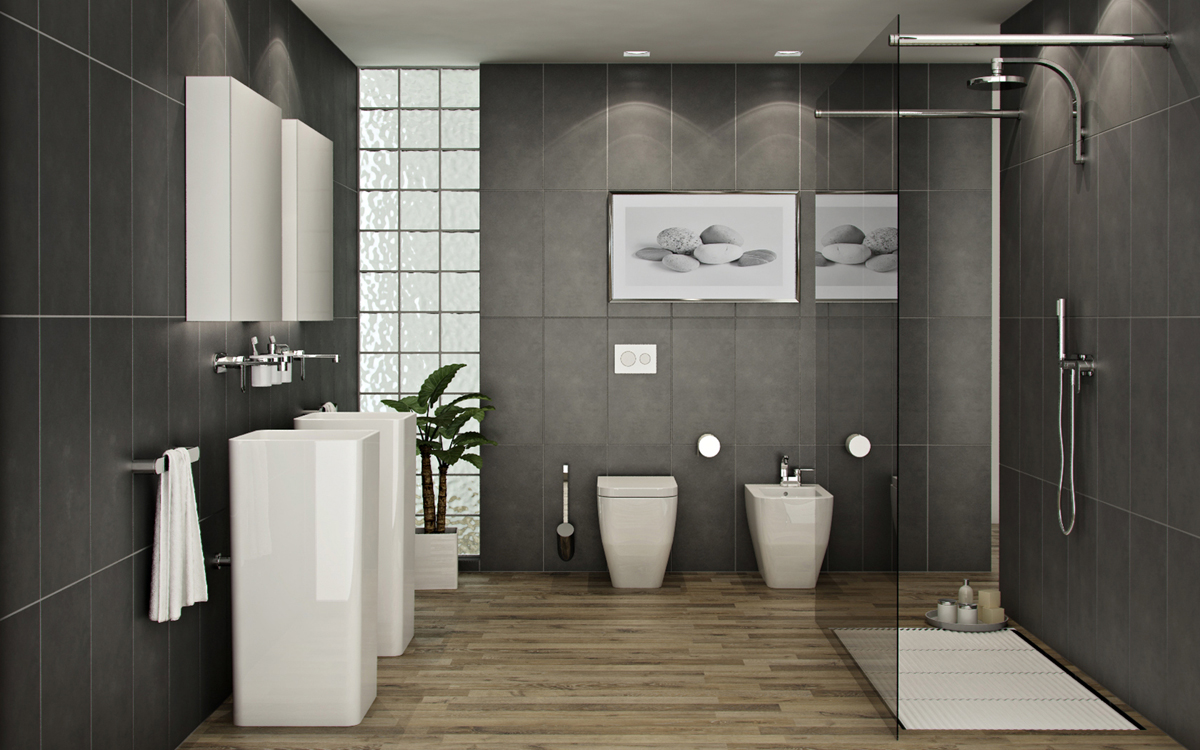 Современные актуальные идеи для ванной комнаты в коричневых тонах