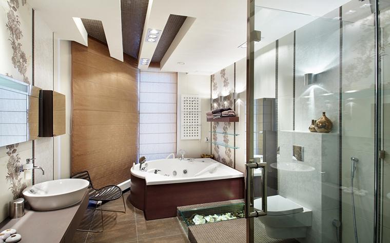 Современные идеи для зонирования просторной ванной комнаты